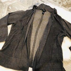 Alfani women's open weave army green cardigan 1X